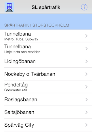 Sl Spartrafik Iphone Applikationer Apps Subway Metro Bussar
