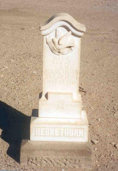 Heckethorn gravestone in white marble